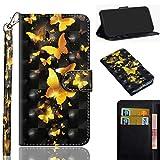 LMFULM® Hülle für LG K40S (6,1 Zoll) PU Leder Magnet Brieftasche Lederhülle Stent-Funktion Schutzhülle Ledertasche Flip Cover - 3D Goldschmetterling