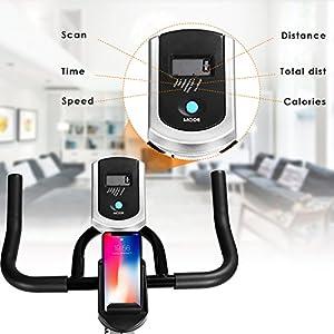 ANCHEER Indoor Cycling Bike, Belt Smooth Quiet Drive Indoor Exercise Bike with Adjustable Seat & Handlebars & Base for Indoor/Garden/Workout Cardio (Silver)