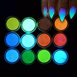 MEILINDS Night Fluorescence Pigment Ultrafine Glitter Glow Powder Nail Art Dust Luminous Decor Tip...