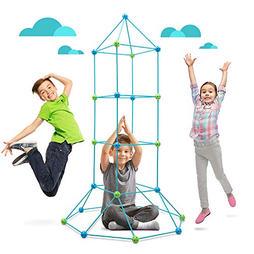 Obuby Kids Fort Building Kit 120 Pieces Construction STEM Toys for 5 6 7 8 9 10 11 12 Years Old Boys and Girls Ultimate Forts Builder Gift Build DIY Educational Learning Toy for Indoor & Outdoor