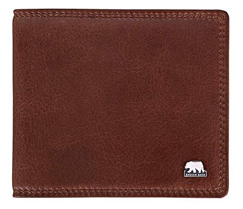 Brown Bear Notizblock-Etui Leder Braun Schreibmäppchen klein für Damen und Herren mit RFID Schutz für Bankkarten & Ausweise inklusive A7 Blöckchen