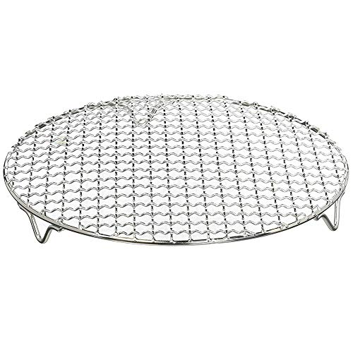 1Pack Multi-Purpose Round Stainless Steel Cross Wire Steaming Cooling Barbecue Rack/Carbon Baking Net/Grill/Pan Grate with Legs(8.25Inch Dia)
