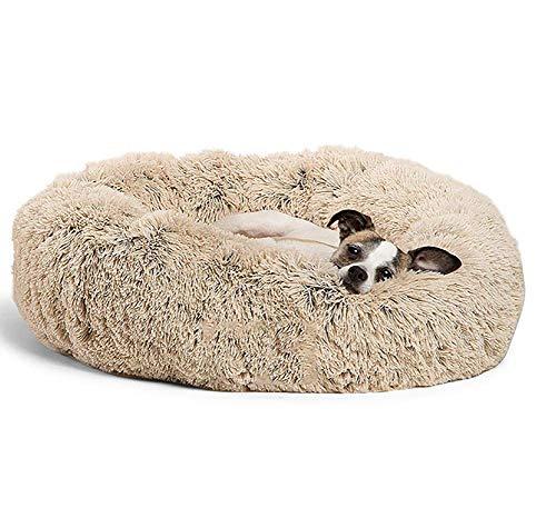 Monba Deluxe Flauschiges Extra Großes Hundebett Sofa Rundes Kissen Katzensofa Kissen in Doughnut-Form Pet Bett für Große und Extra Große Hunde-80cm-Braun
