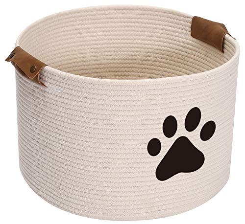 Brabtod Cesta de juguete para perros - Pequeño juguete redondo para mascotas y accesorios de almacenamiento para decoración del hogar - blanco