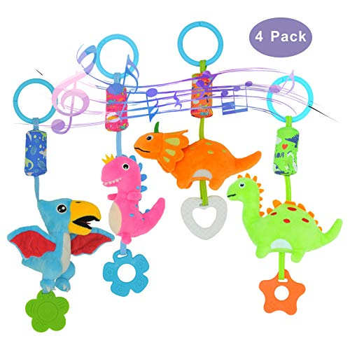 gebra Baby Toys Baby Stroller Car Seat Crib Hanging Toys Soft Rattle Squeaky Wind Chime Toy with Teether for Infant Boys and Girls Age 0 3 6 9 to 12 Months, 4 Pack