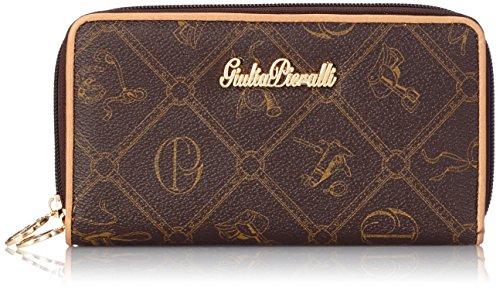Giulia Pieralli Lyonna - Geldbörse Damen LongFormat Portemonnaie mit zwei Reißverschlüssen schwarz braun All-over Muster Print ca. 18x10,5x3,5 cm (B x H x T)