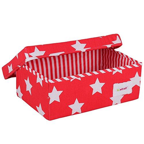 Minene Small Storage Box with Stars (Red/White)