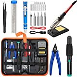 Soldering Iron Kit Electronics [Upgraded], Yome 15-in-1 60w Adjustable Temperature Soldering Iron, 5pcs Soldering Iron Tips, DE-soldering Pump, Wire cutters, screwdriver, Stand