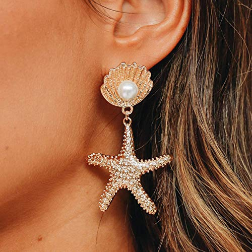 DoubleNine Boho Starfish Shell Earrings Star Gold Dangle Women Beach Ocean Summer Jewelry Gift