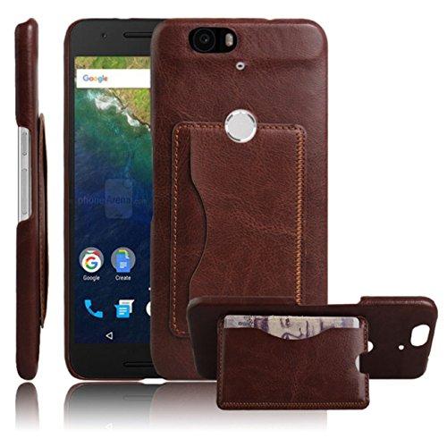 Nexus 6P Case, Premium Leather Wallet Flip Case Cover with Stand Card Holder for Huawei Google Nexus 6P / 6 2nd Gen 2015 Phone (Bracket - Brown)