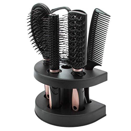 Fifet Frauen Massage Hairbrush x 5, Schwarz, Rosa, mit Spiegel und Stand, für Damen Haarpflege