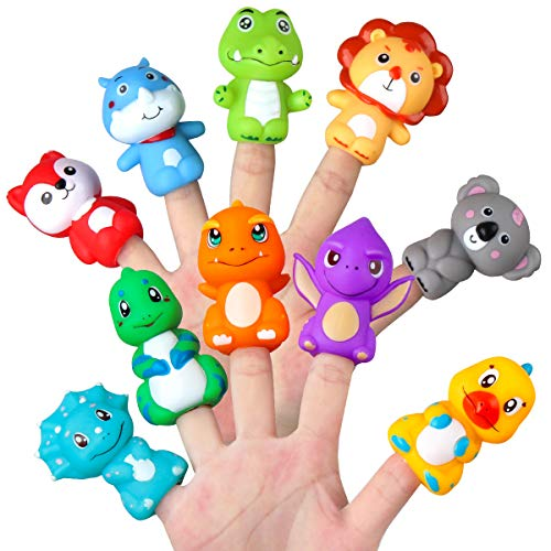 Vanmor Rubber Animal Bath Finger Puppets for Toddlers, Colorful Different Storytelling Puppet Toy for Teaching Show, Party Favors for Kids, Stocking Stuffer, Pinata Fillers Goodie Bag Fillers (10 Pcs)