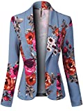 MixMatchy Women's Solid Print Casual Waist Length Open Front Blazer Jacket [ Made in USA ] Flower Blue 3XL
