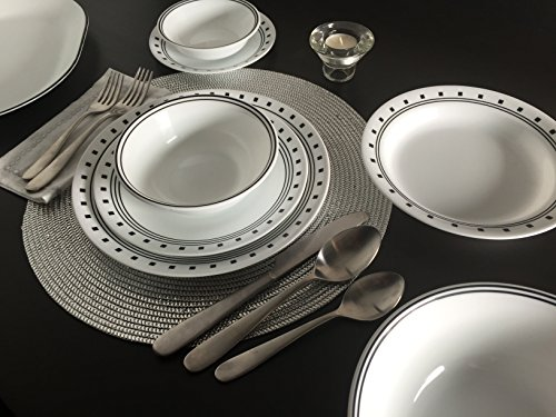 Corelle City Block Dinnerware Set with lids (74-Piece, Service for 12)