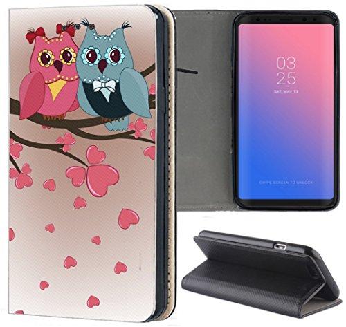 Handyhülle für Samsung Galaxy A3 2016 Premium Smart Einseitig Flipcover Flip Case Hülle Samsung A3 2016 Motiv (1435 Eule Eulen Blau Pink Cartoon)
