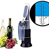 HunterBee Homemade Wine Beer Brewing Test Refractometer with ATC Double Ruler 0-40% Brix & 0-25% Vol Wine Alcohol and Sugar Content