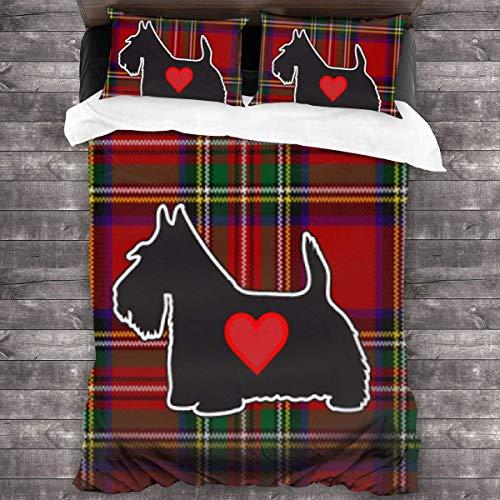 KDRW Red Plaid Scottish Terrier Scotty Dog Duvet Cover Bedding Sheet Set, 3 Piece Set Comfortable (Duvet Cover + 2 Pillowcases)