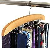 SUNTRADE Wooden Tie Hanger,24 Tie Organizer Rack Hanger Holder Hook (Beige, 24...