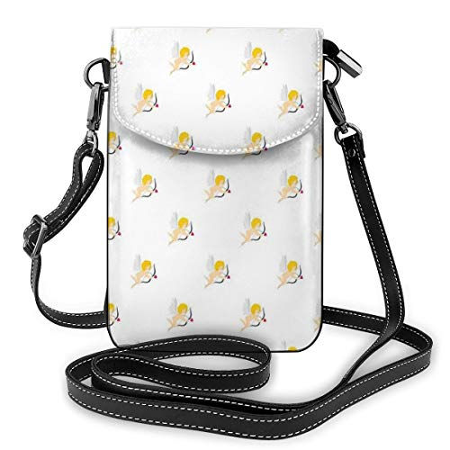 Women Small Cell Phone Purse Crossbody,Cupid Pattern Amour Love Arrow Mythic Romance Kids Baby Angels Children