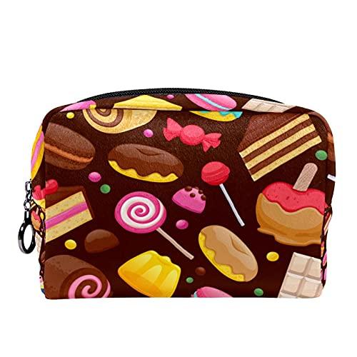 Sac à cosmétiques Compact Trousse de Maquillage, Beignet Chocolat Cupcake Sucette