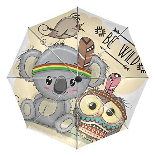 Wamika Autoschirm mit Tribal-Eule, automatischer Regenschirm, Tier-Vogel-Motiv, Winddicht, wasserdicht, UV-Schutz, 3-Fach faltbar, automatisches Öffnen/Schließen, für Sonne und Regen