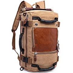 Canvas Backpack:Canvas and PU leather color collocation design, stylish and durable. Travel Bag Design: A fusion suitcase design of the main zipper bag, two front zipper pockets and a side mesh bag, a side handle, equipped with a removable shoulder s...