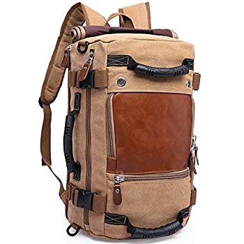 KAKA Travel Backpack ,Canvas Duffel Bag for Traveling,Leather Vintage Travel Bags for Men,Carry on Weekender 15.6  Laptop backpacks Bag ,khaki