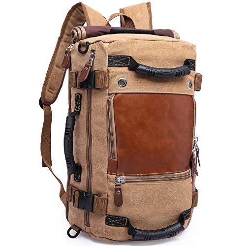 KAKA Travel Backpack ,Canvas Duffel Bag for Traveling,Leather Vintage Travel Bags for Men,Carry on Weekender 15.6' Laptop backpacks Bag ,khaki