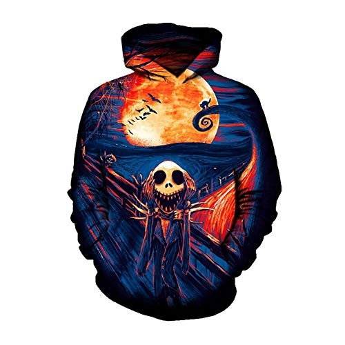 Rinaev Hoodie Furchtsamer Albtraum Vor Weihnachten Hoodie-Lustiger Feiertags-Pullover-Unisexpaar-Spitze Ehrfürchtiges Sportwear Halloween-Sweatshirt