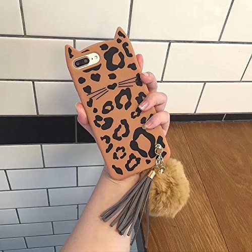 SevenPanda SevenPanda Silikon Hülle für iPhone 5S, iPhone 5 SE Ultra Dünne Case Weich Cartoon Stoßfeste Katzen Ohren Telefon Weicher Silikon Gel Stoßdämpfer Handyhülle Mit Haar Ball Quaste - Leopard