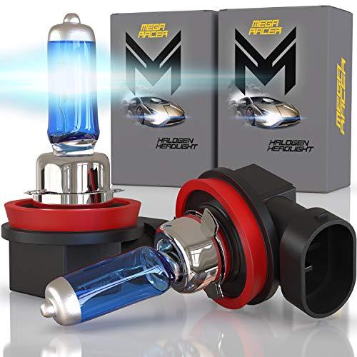 Mega Racer H11 Halogen Headlight Bulbs - 5000K Crystal White 12V 100W 150% Brighter Xenon, Standard Halogen Replacement IP68 Waterproof Rating Longer Life PGJ19-2 Base, Pack of 2