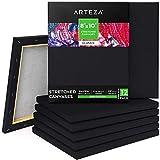 ARTEZA Lienzos negros estirados | Tamaño 20,3 x 25,4 cm | Pack de 12 | 100%...