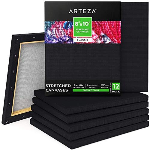 ARTEZA Lienzos negros estirados | Tamaño 20,3 x 25,4 cm | Pack de 12 | 100% algodón | Lienzos pretensados e imprimados sin ácidos | Ideales para pintar con acrílicos, óleo, témperas y medios húmedos