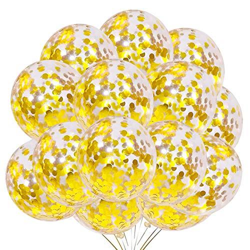 YMSZ Globos de Confeti Oro, 50 Piezas 12 Pulgadas Globos de Fiesta de Látex con Confeti de Papel Dorado para Decoraciones de Bodas de Cumpleaños