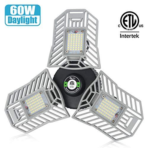 Garage Lights Led Deformable Garage Light Ceiling LED 60W 6000Lumen Flexled Garage Light Tribrite Led Adjustable Light with 3 Panel Led Shop Lights for Garage Ceiling Basement Workshop