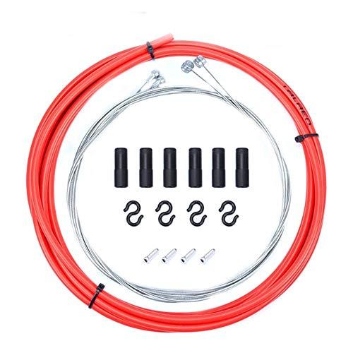 pushfocourag Kit de Manguera de Cable de Freno para Bicicleta de montaña de 2,5 Metros, Rojo