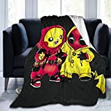 Anime Throw Blanket Pi-ka-ch-u Flannel Fleece Plush Blanket, Ultra Soft Cozy Reversible Warm Blanket for Kids Adult Couch Bed