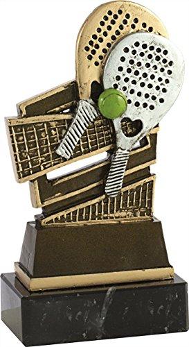 Art-Trophies TP444 Trofeo Raqueta de Pádel, Dorado, 18 cm