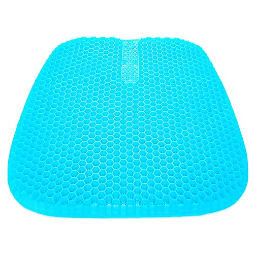 Gel Seat Cushion,Double Thick Seat Cushion, Multi-Use Seat Cushion Super Breathable Gel Cushion for Car, Office Chair, Wheelchair (Light Blue)