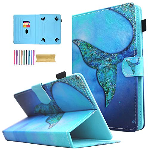 Universal 8.0 inch Tablet Case, AMOTIE Magnetic Closure Flip Stand Cover with Card/Cash Slots for iPad Mini/Galaxy Tab 8.0 Tablet/Amazon Kindle Fire HD HDX Other 8.0 Tablet, Whale Tail