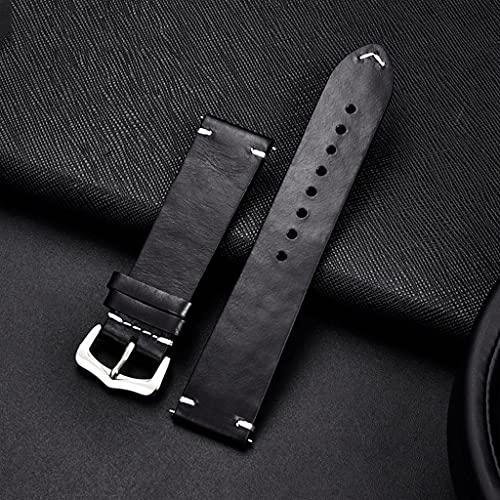 DAGONGREN Handmade Vintage Oil Wax Leather Watchband 18mm 20mm 22mm 24mm Replacement Bracelet Strap Band Watch Accessories (Color : Black, Size : 18mm)