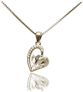 Coach House Jewelry Women's Fashion Necklace with White Gold Plated Pave Heart, European Crystals and Crystal Shaped Heart