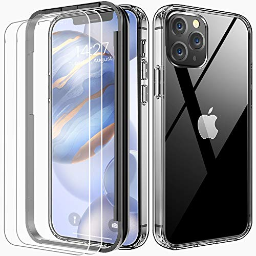 "FLOVEME Compatible with iPhone 12 Case Clear with Screen Protector [2 Pack] - 2020 iPhone 12 Pro Clear Case 6.1"" Full Protective iPhone 12 Clear Cases Cover for iPhone 12 / iPhone 12 Pro 5g 2020"