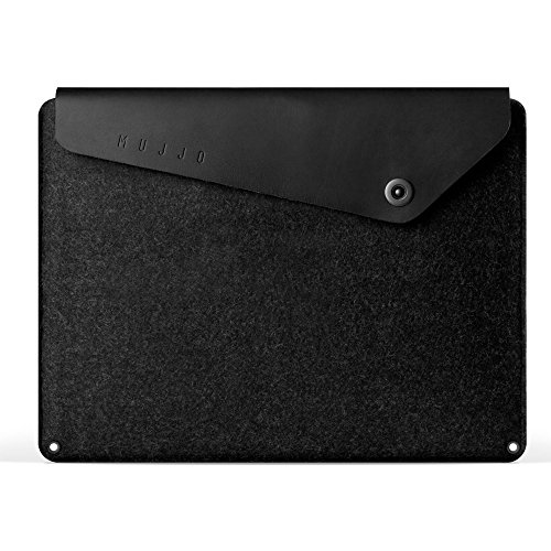 Mujjo Sleeve for 13' MacBook Air (2018+), 13' MacBook Pro | Premium Wool Felt, Leather Flap, Snap Button | Storage Compartments, Card Pocket (Black)