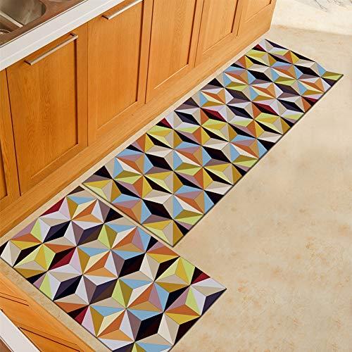 Ommda keukentapijtloper geometrische print anti-skid keukenloper slaapkamer decoratief met rubberen achterkant 40x60cm+40x120cm Jh 001