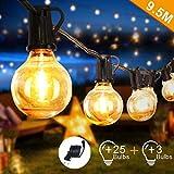 Opard Lichterkette Außen Lichterkette Glühbirnen G40 9.5M 28er Glühbirnen Lichterkette Außen Warmweiß Garten Lichterketten Außen Innenbeleuchtung Deko Licht mit Stecker für Garten, Hochzeit, Zimmer