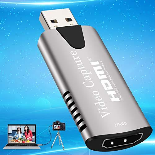 Adhope Capture Card Video HDMI Capture Card USB 3.0 Scheda di registrazione video 4K HD 1080P USB a HDMI Adattatore per Gaming Broadcast Live Streaming lezioni video conferenze live