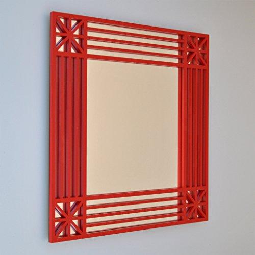 Miroir mural carré - Petits coins étoilés - 40 x 40 cm - Laqué noir