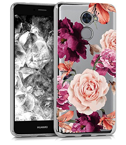 BAISRKE Huawei Ascend XT2 Case, Huawei Y7 Prime Case with Flowers Slim Shockproof Clear Floral Pattern Soft Flexible TPU Back for Huawei Y7 Prime/Ascend XT2 H1711 / Elate 4G LTE [Purple]