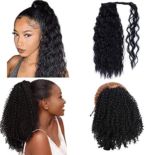 2 Pièces Cordon Noir Afro Puff Hair Bun Extension Synthétique Kinky Curly Ponytails et 24 '' Long Black Curly Ponytail Hair Extension Postiche pour Femmes